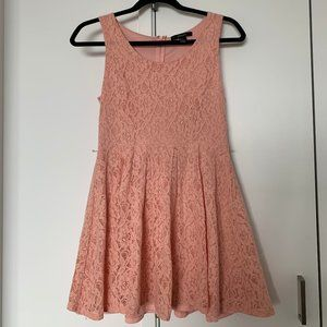 Cute Laced Coral Mini Sun Dress A-line Small